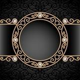 Gold jewelry vignette. Vintage gold background, diamond vignette, swirly jewelry frame Stock Photos