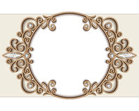 Gold jewelry vignette, vintage circle frame Stock Images