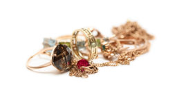 Gold Jewelry On White Royalty Free Stock Photos