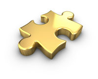 Gold Jigsaw Piece Royalty Free Stock Photos