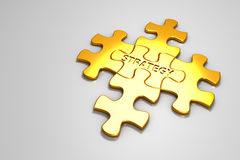 Gold jigsaw puzzle. Stock Photo
