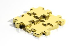 Gold  jigsaw puzzle pieces Royalty Free Stock Image