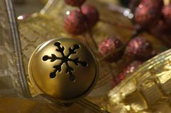Gold jingle bell Stock Photos