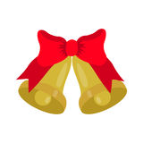 Gold Jingle bells with red bow Royalty Free Stock Image
