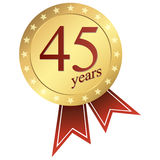 gold jubilee button - 45 years Royalty Free Stock Image