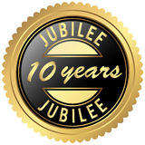 Gold jubilee seal. Round seal colored black and gold for ten years jubilee Royalty Free Stock Images