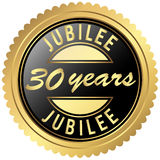 Gold jubilee seal. Round seal colored black and gold for thirty years jubilee Stock Images