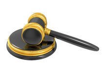 Gold judge gavel Stock Images