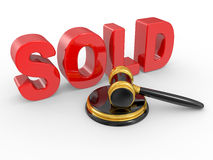 Gold judge gavel and inscription sold Stock Images