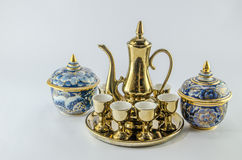 Gold jug Tea glass benjarong   white background. Gold jug Tea glass benjarong  on white background Royalty Free Stock Photos