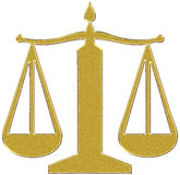 Gold justice balance sign Stock Photography