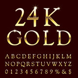 Gold 24 k. Golden alphabet, golden letters, vector illustration Stock Images