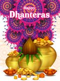 Gold Kalash with decorated diya for Happy Dhanteras Diwali festival holiday celebration of India greeting background. Vector illustration of Gold Kalash with stock illustration