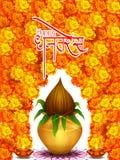 Gold Kalash with decorated diya for Happy Dhanteras Diwali festival holiday celebration of India greeting background vector illustration