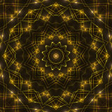 Gold kaleidoscope light, dark abstract background. Dark abstract background, gold kaleidoscope light Royalty Free Stock Photography