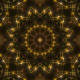 Gold kaleidoscope light, dark abstract background. Dark abstract background, gold kaleidoscope light Stock Photography