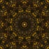 Gold kaleidoscope light, dark abstract background. Dark abstract background, gold kaleidoscope light Stock Photo
