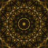 Gold kaleidoscope light, dark abstract background. Dark abstract background, gold kaleidoscope light Royalty Free Stock Photo