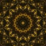 Gold kaleidoscope light, dark abstract background. Dark abstract background, gold kaleidoscope light Royalty Free Stock Photos