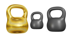 Gold Kettlebell Stock Photo