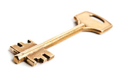 Gold key. Isolated on a white background Royalty Free Stock Photos