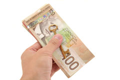 Gold key and canadian dollars Royalty Free Stock Photo