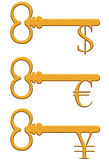 Gold key with dollar, euro and yen currency sign Stock Image