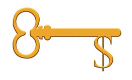 Gold key with dollar sign Stock Photo