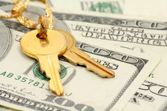 Gold key and dollars. Concept of success Royalty Free Stock Images