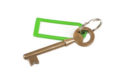 Gold key with empty label Stock Photos