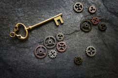 Gold key with gears Royalty Free Stock Photo