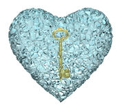 Gold key and heart Stock Photography