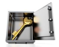 Gold key with heart shape inside steel safe. 3D illustration.  Royalty Free Stock Photos