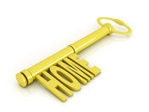 Gold key, home concept illustration Royalty Free Stock Photos