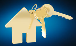 Gold key with house keyring 3D rendering Royalty Free Stock Images
