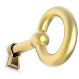 Gold key inserted in door keyhole Stock Photography