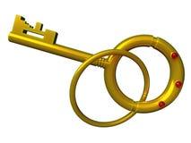 Gold key isolated Royalty Free Stock Image