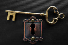 Gold key and lock Royalty Free Stock Image