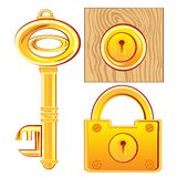 Gold key and lock Stock Photo
