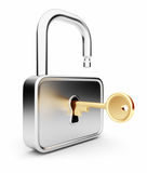 Gold key in the metal lock. Isolated 3D. Security Stock Photo