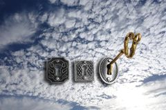 Free Gold Key Opening A Sky Lock Royalty Free Stock Image - 105275896