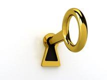 Gold key over white Stock Photos
