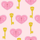 Gold key. And pink loving heart vector illustration