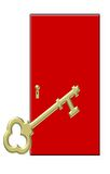 Gold Key with Red Door royalty free illustration