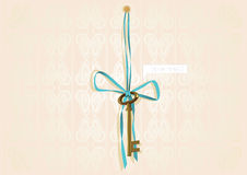 Gold key and ribbon Stock Images