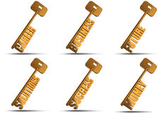 Gold key set. Set of gold key isolated on white background  - Conceptual image Royalty Free Stock Images