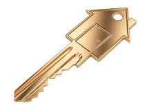Gold key in the shape of a house. Real estate concept. 3D image isolated on a white Stock Photo
