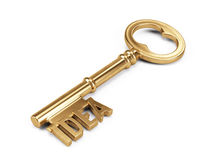 Gold Key to Success isolated on white Stock Images