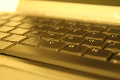 Gold Keyboard. Gold laptop computer keyboard macro Stock Images