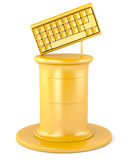 Gold keyboard on pedestal Stock Images